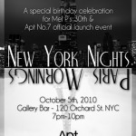 Tomorrow, 10/5: Apt No.7 Launch Event at Gallery Bar (Lower East Side)