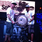 Dj Izoh and DJ Ease posing with the Gong